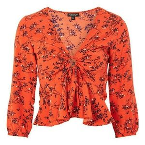 Topshop red floral tie front blouse